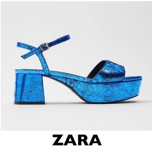 ZARA Blue Metallic Platform Sandals EUR 36 US 6